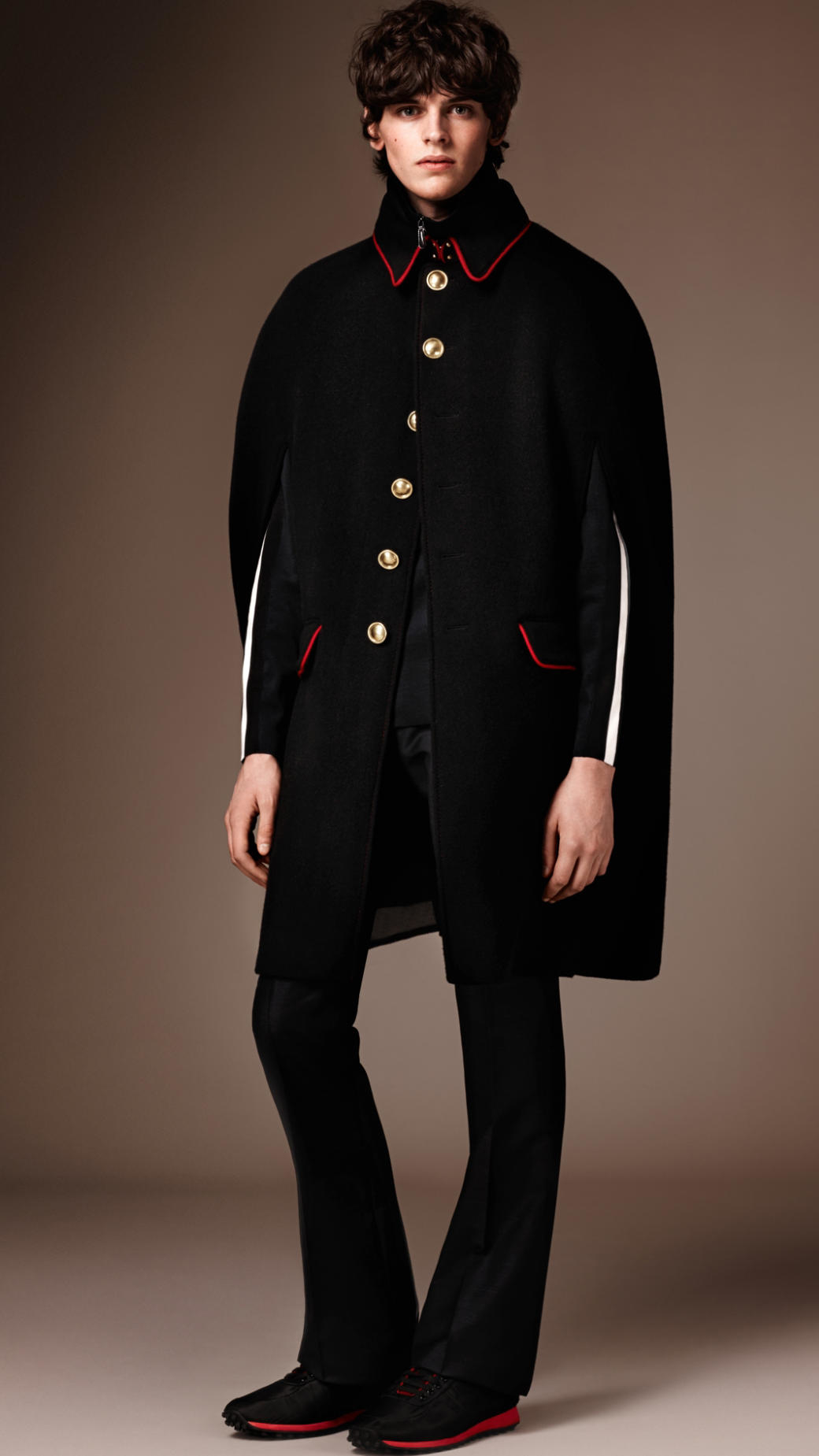 Burberry Wool Cashmere Military Cape in Black for Men