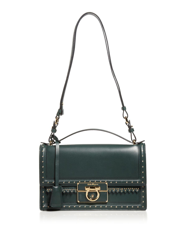Lyst - Ferragamo Shoulder Bag - Aileen Grommet Fringe Medium in Green 32858ef64c278