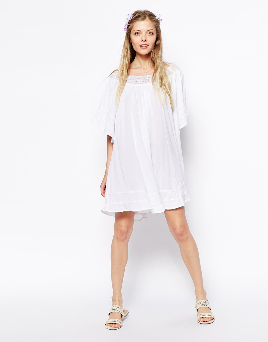 b42771daacc5 Lyst - ASOS Off Shoulder Swing Dress in Cheesecloth in White