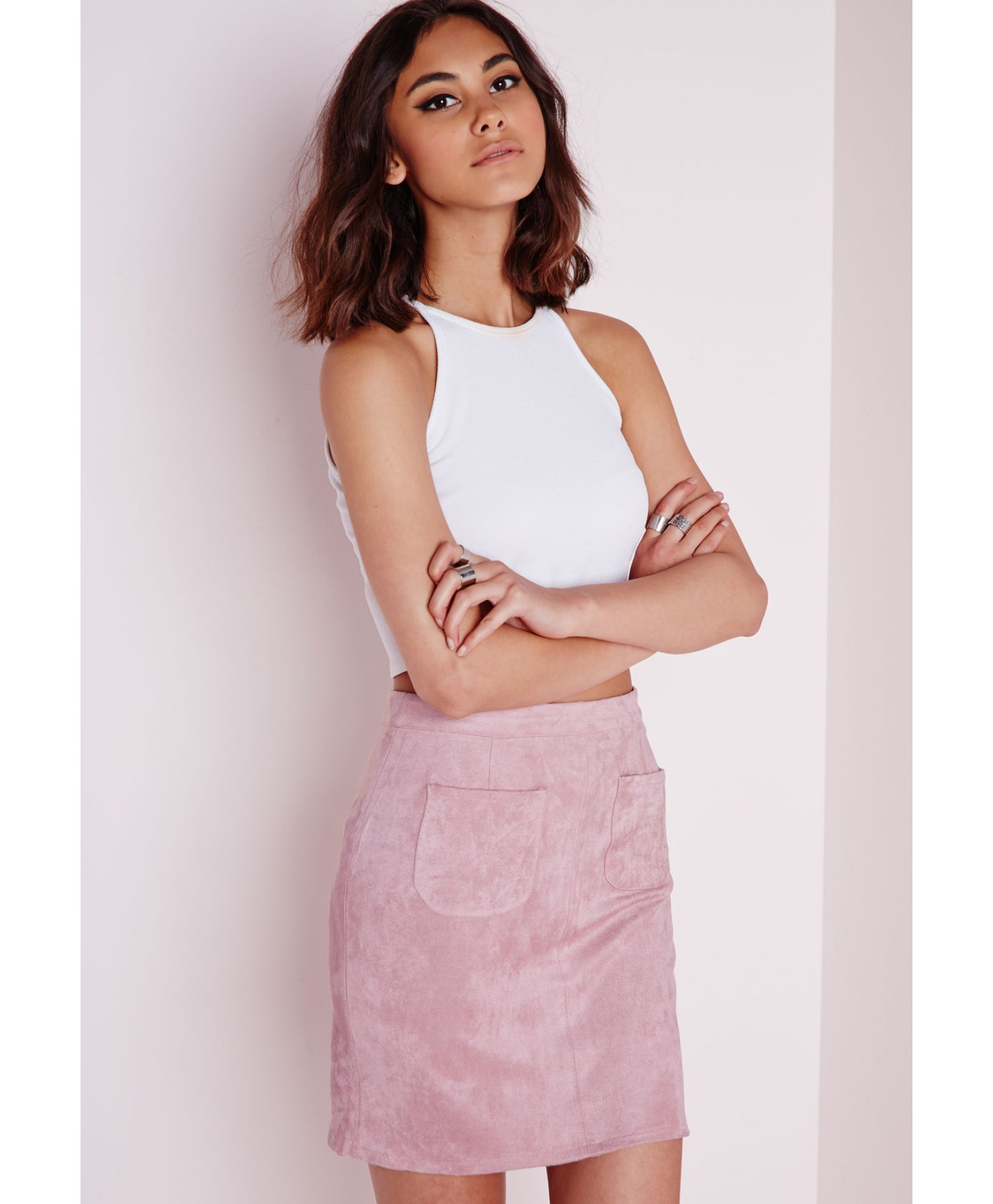 fe80e8385 Lyst - Missguided Pocket Faux Suede Mini Skirt Mauve in Pink