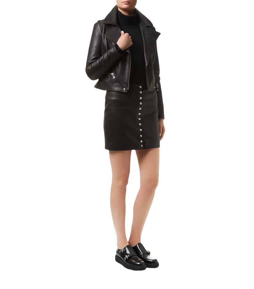 Versus Lion Button Leather Mini Skirt in Black | Lyst