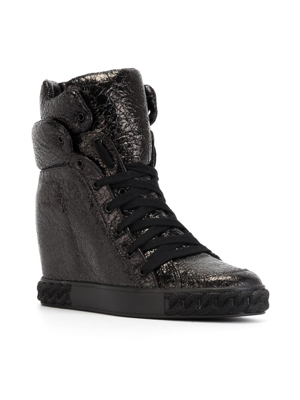 casadei hi top wedge sneakers in black lyst. Black Bedroom Furniture Sets. Home Design Ideas