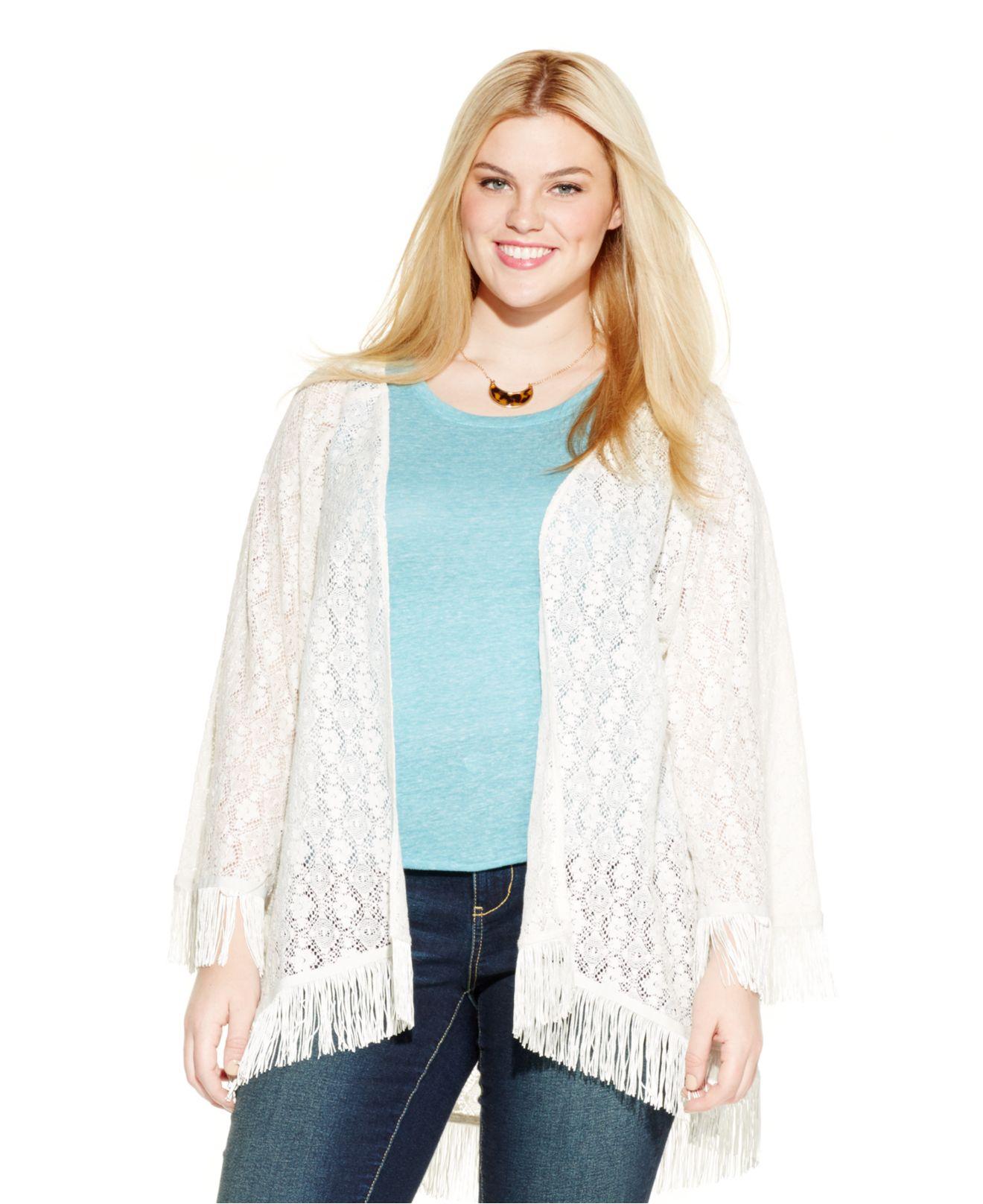 Jessica simpson Plus Size Lace Kimono Cardigan in White   Lyst