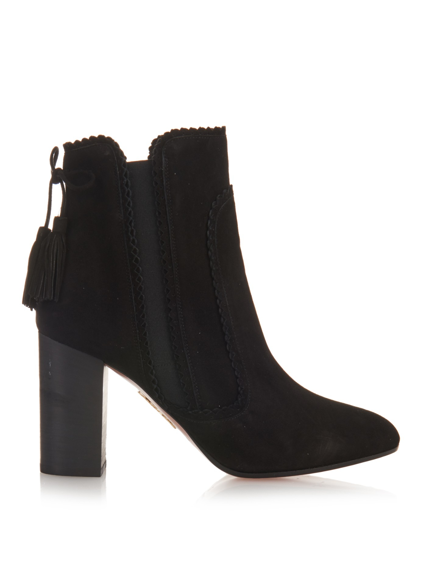 aquazzura boho beatle suede ankle boots in black lyst