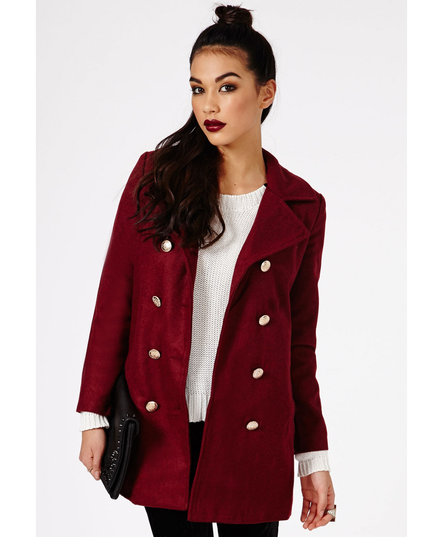 Missguided Kazumita Military Coat in Burgundy in Red | Lyst