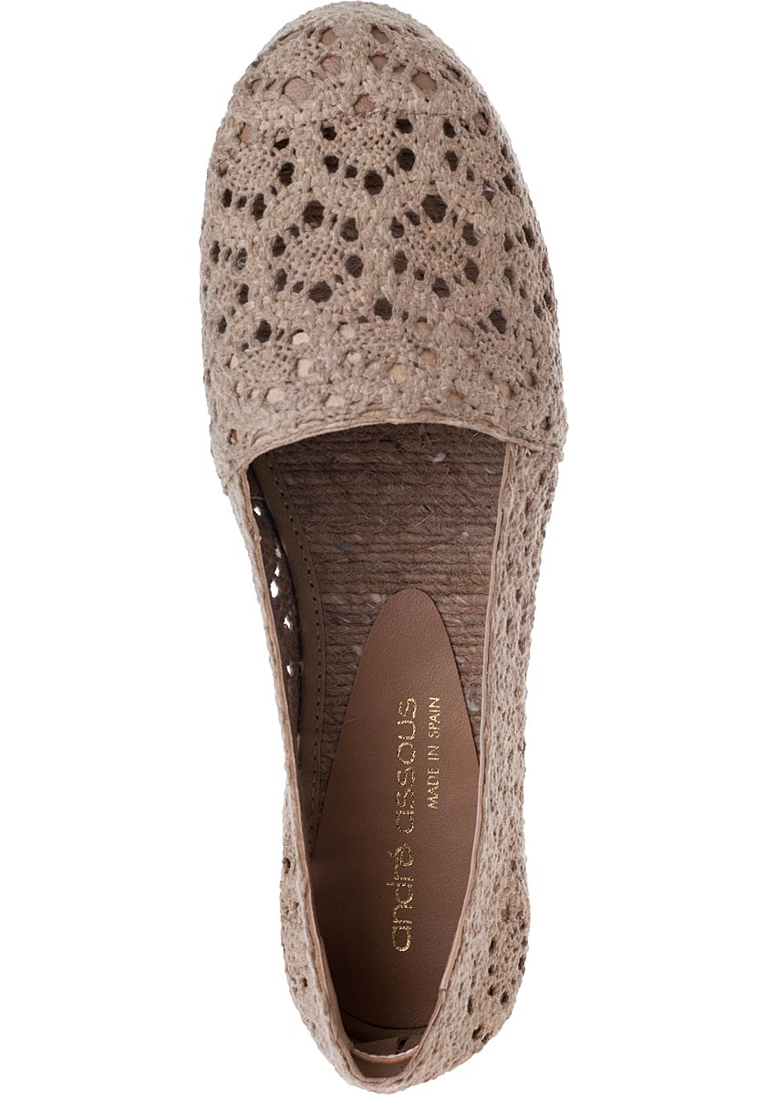 Andre Assous Princess Flat Espadrilles Taupe Fabric In