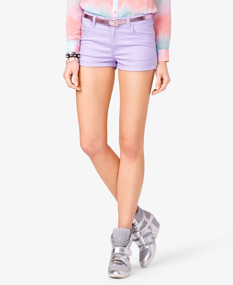 Forever 21 Colored Denim Shorts in Purple | Lyst