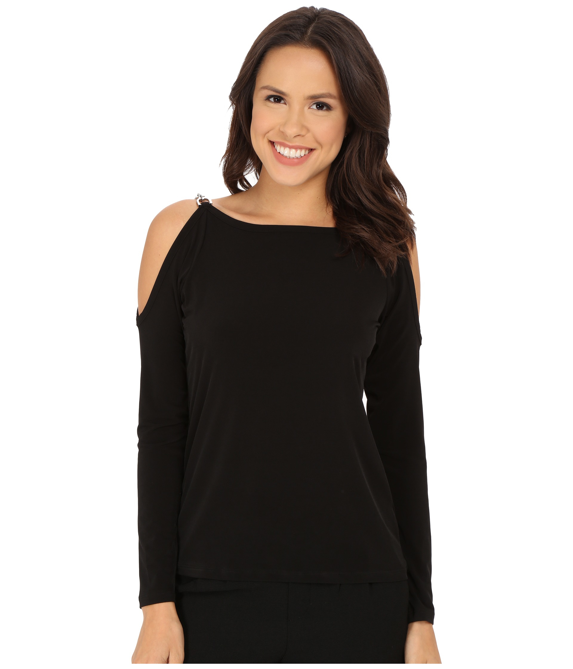 Michael Michael Kors Oval Link Cold Shoulder Top In Black
