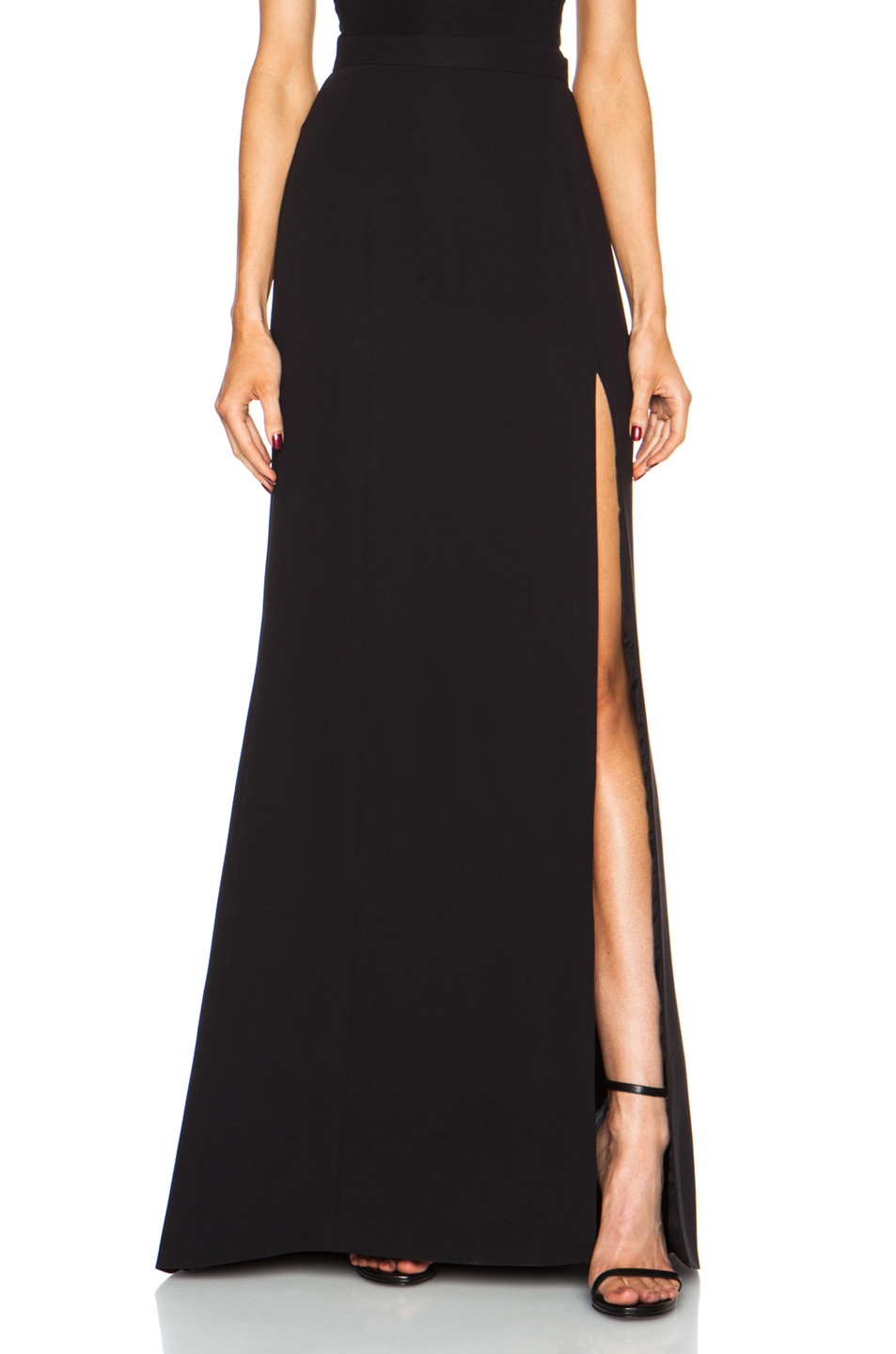 J. mendel Long High Slit Silk Skirt in Black | Lyst