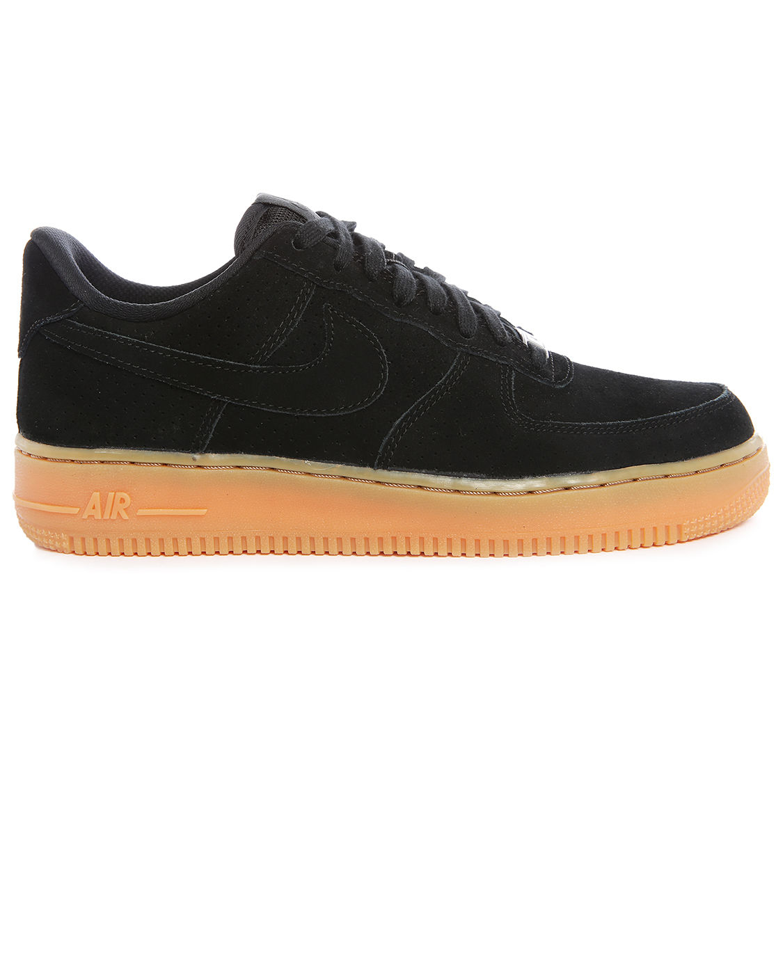 nike wmns air force 1 black perforated suede gumsole sneakers in black for men lyst. Black Bedroom Furniture Sets. Home Design Ideas