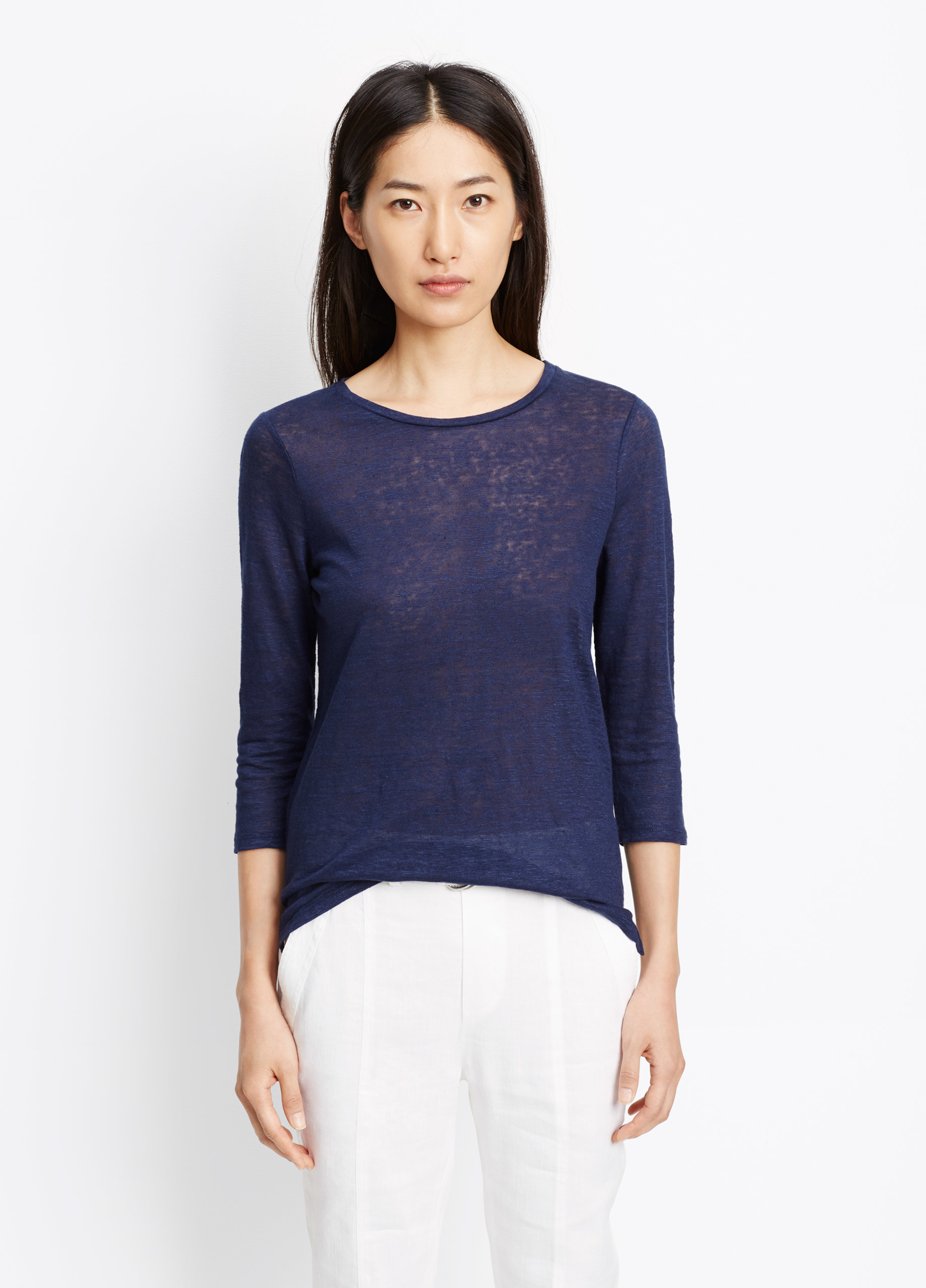 Lyst Vince Linen Three Quarter Sleeve Tee In Blue