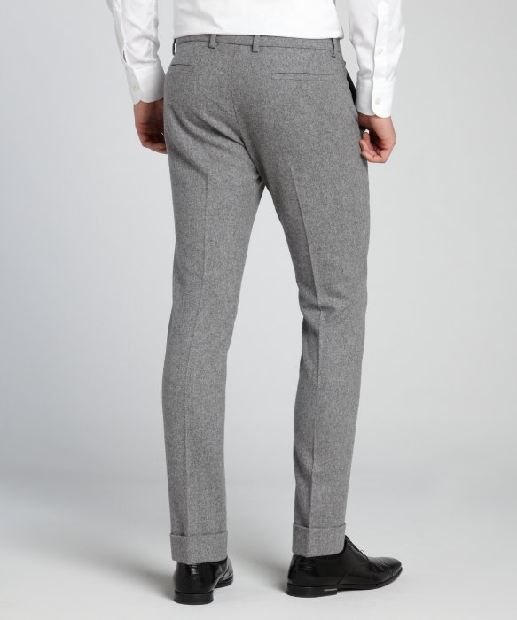 Gucci Grey Boiled Wool Cuffed Dress Pants in Gray for Men | Lyst