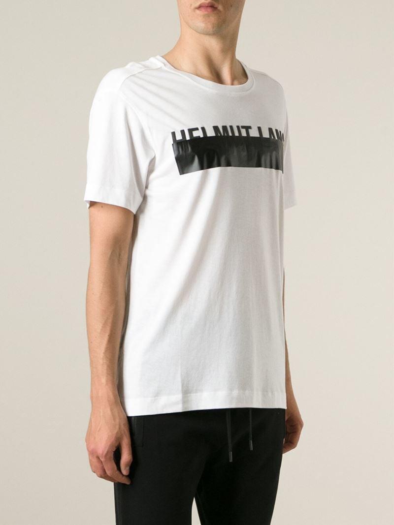 helmut lang logo print t shirt in white for men lyst. Black Bedroom Furniture Sets. Home Design Ideas
