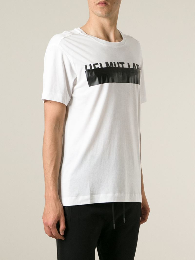 Helmut lang logo print t shirt in white for men lyst for Helmut lang tee shirts