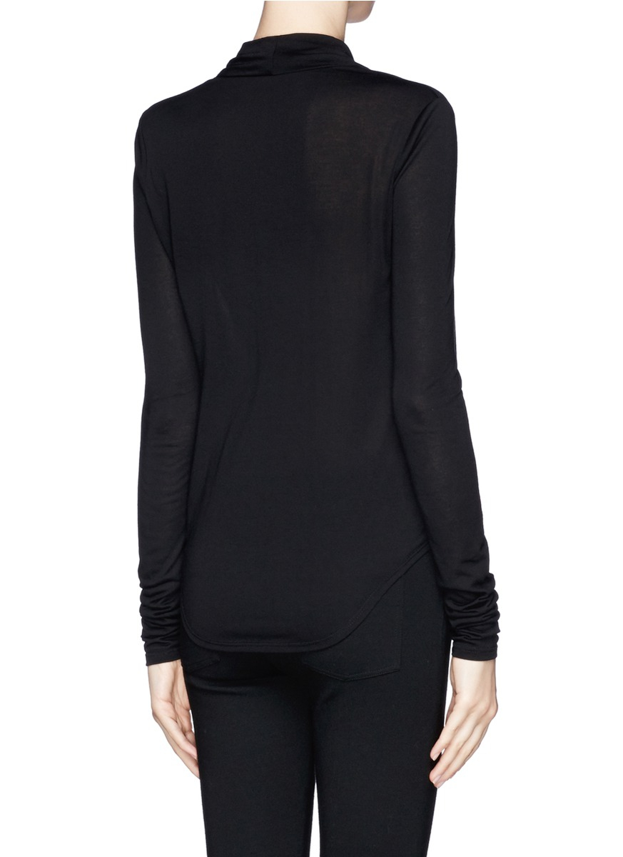 helmut lang cowl neck jersey long sleeve t shirt in black. Black Bedroom Furniture Sets. Home Design Ideas