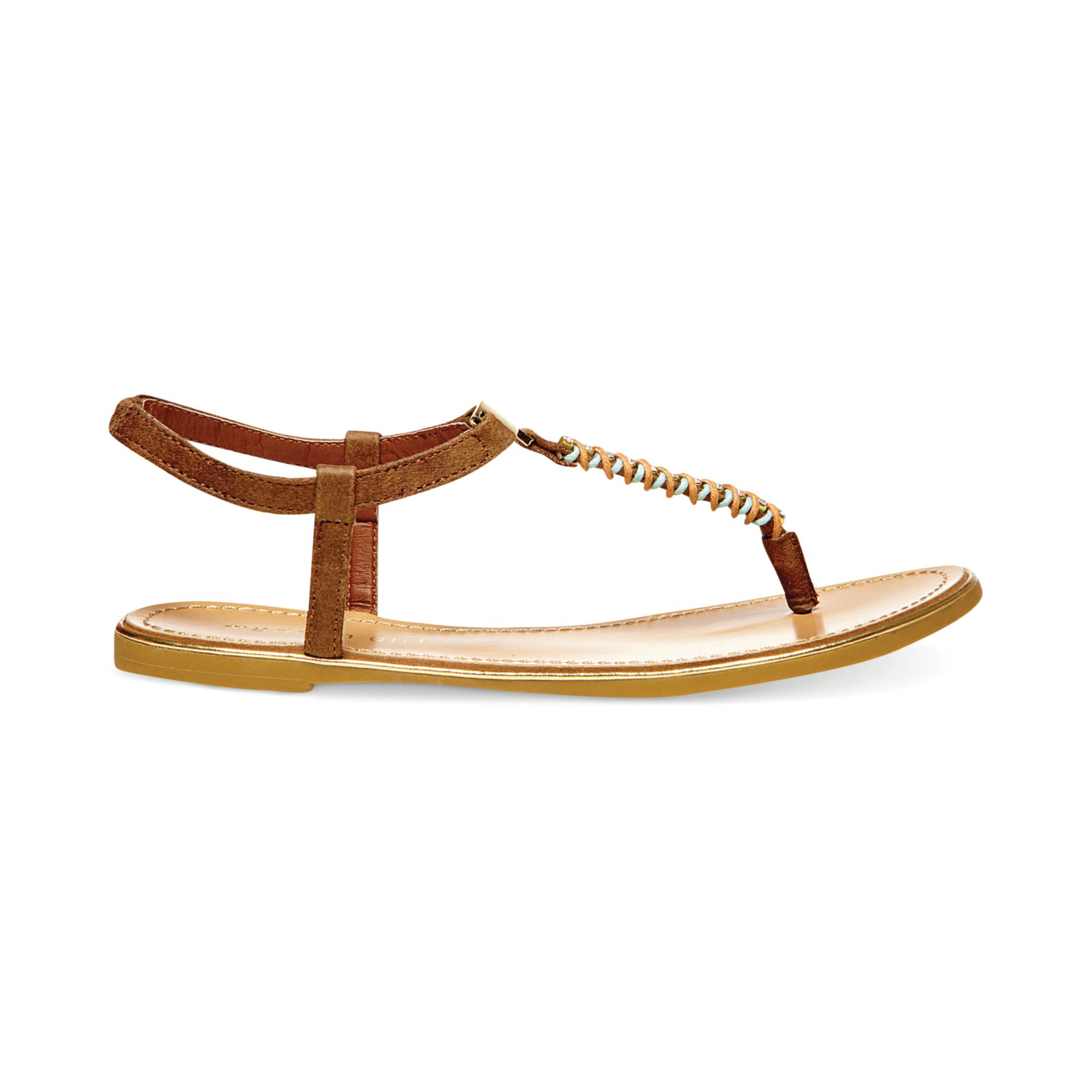 19c63f03f Lyst - Madden Girl Mellowed Jeweled Thong Sandals in Brown