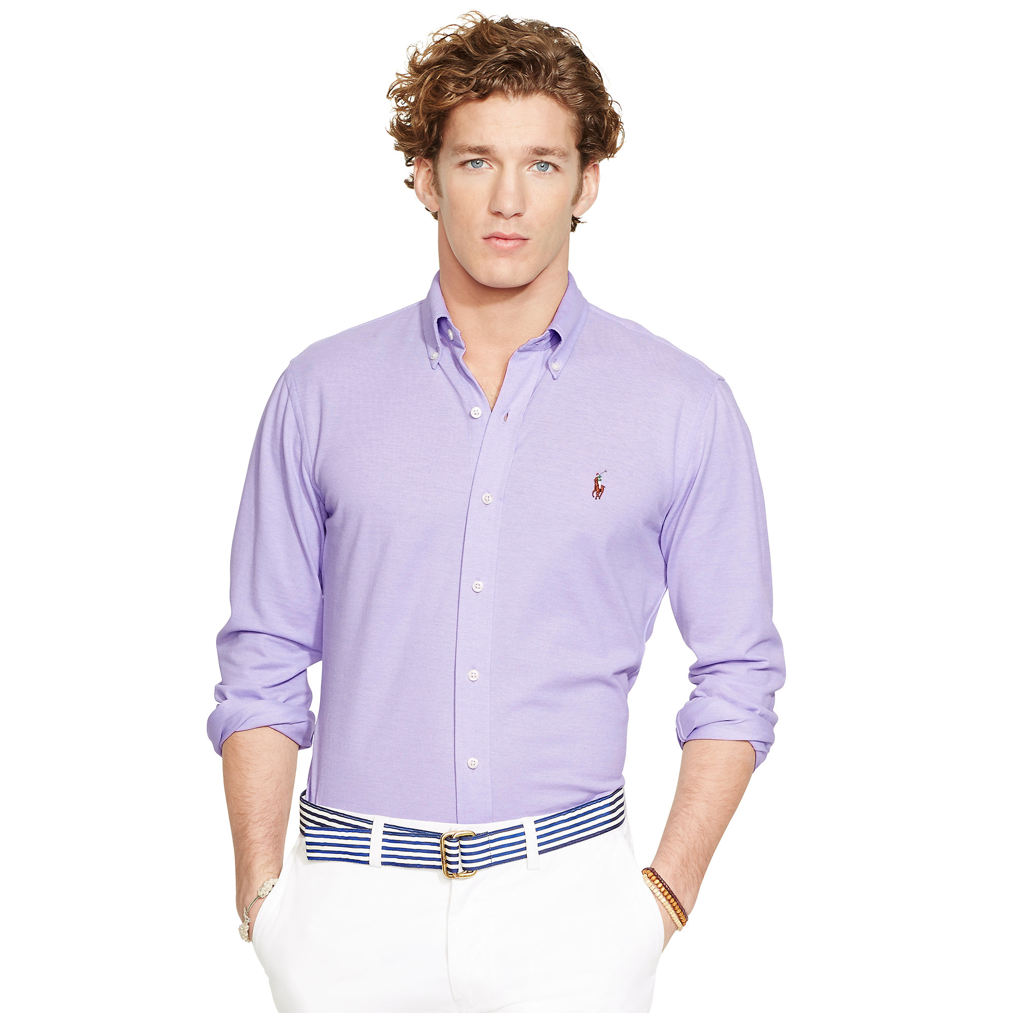 lyst polo ralph lauren knit oxford shirt in purple for men. Black Bedroom Furniture Sets. Home Design Ideas