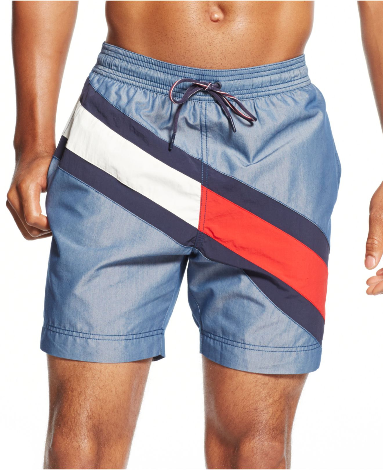 b2ae70425e9a7 Tommy Hilfiger Logo Stripe Swim Trunks in Blue for Men - Lyst