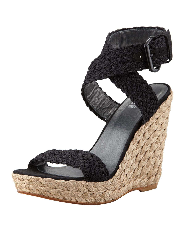 ff2f41d84f35 Lyst - Stuart Weitzman Alex Crochet Wedge Sandal in Black