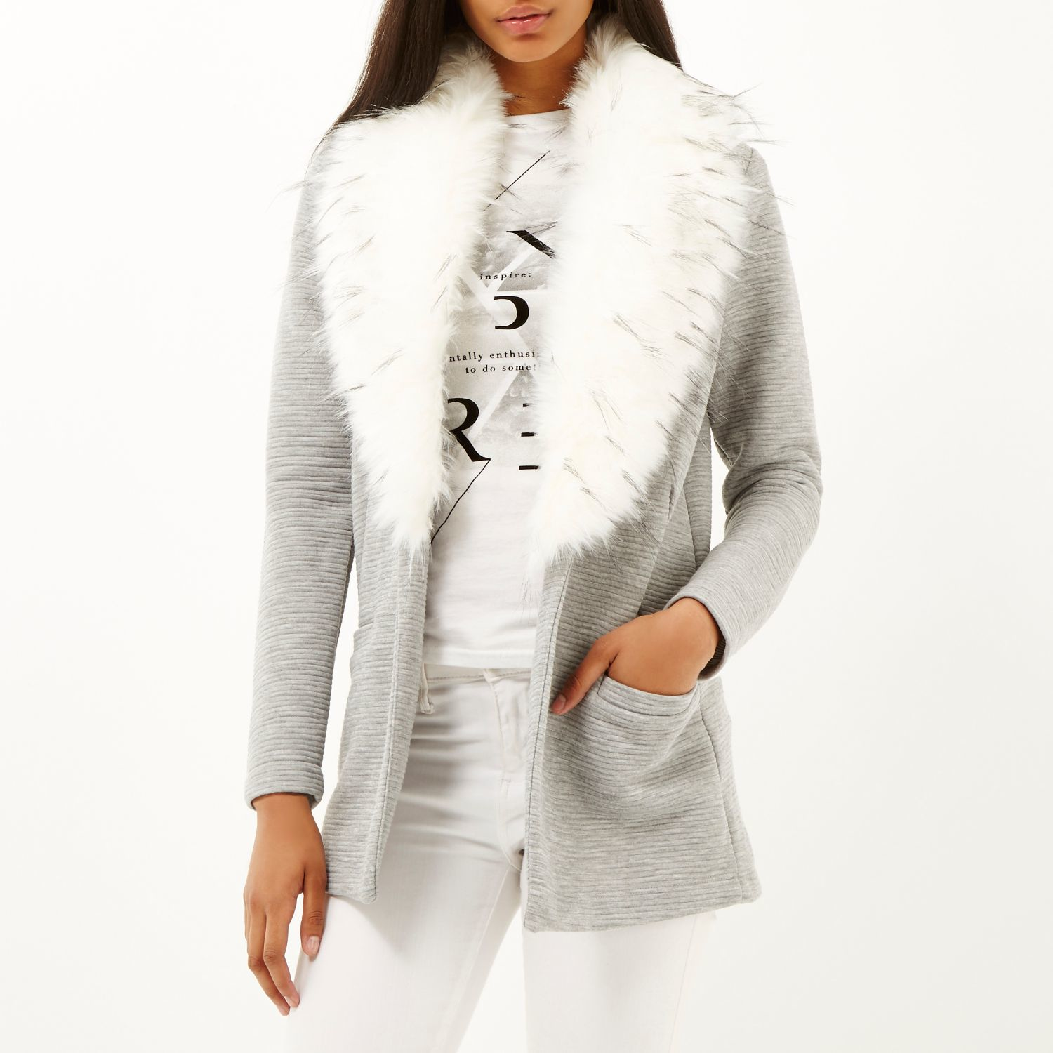 River Island Fur Grey White