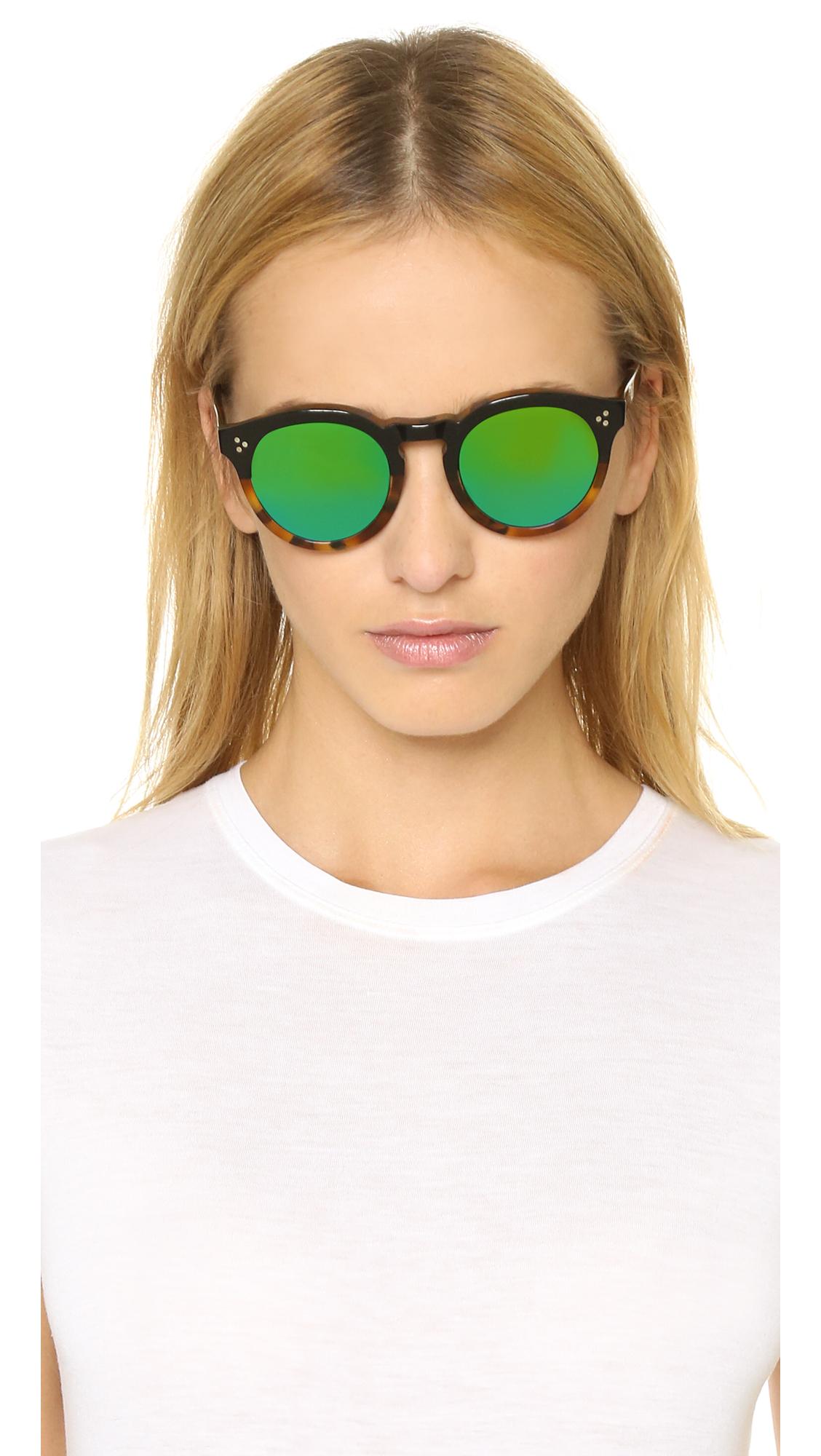 2e0657ef903 Lyst - Illesteva Leonard Ii Half And Half Mirrored Sunglasses - Black Light  Tortoise green in Black