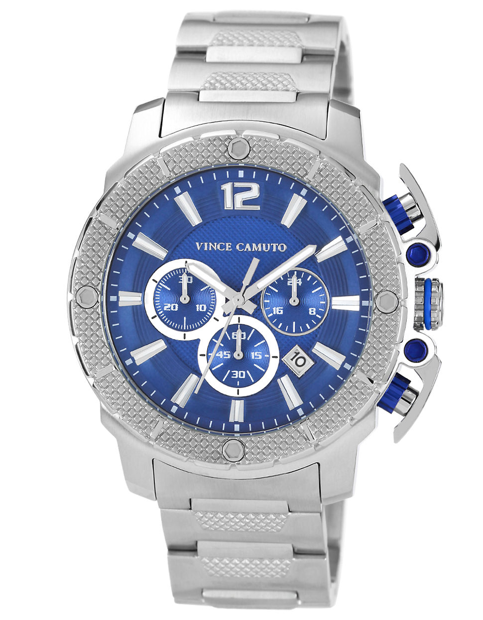 vince camuto mens stainless steel in silver