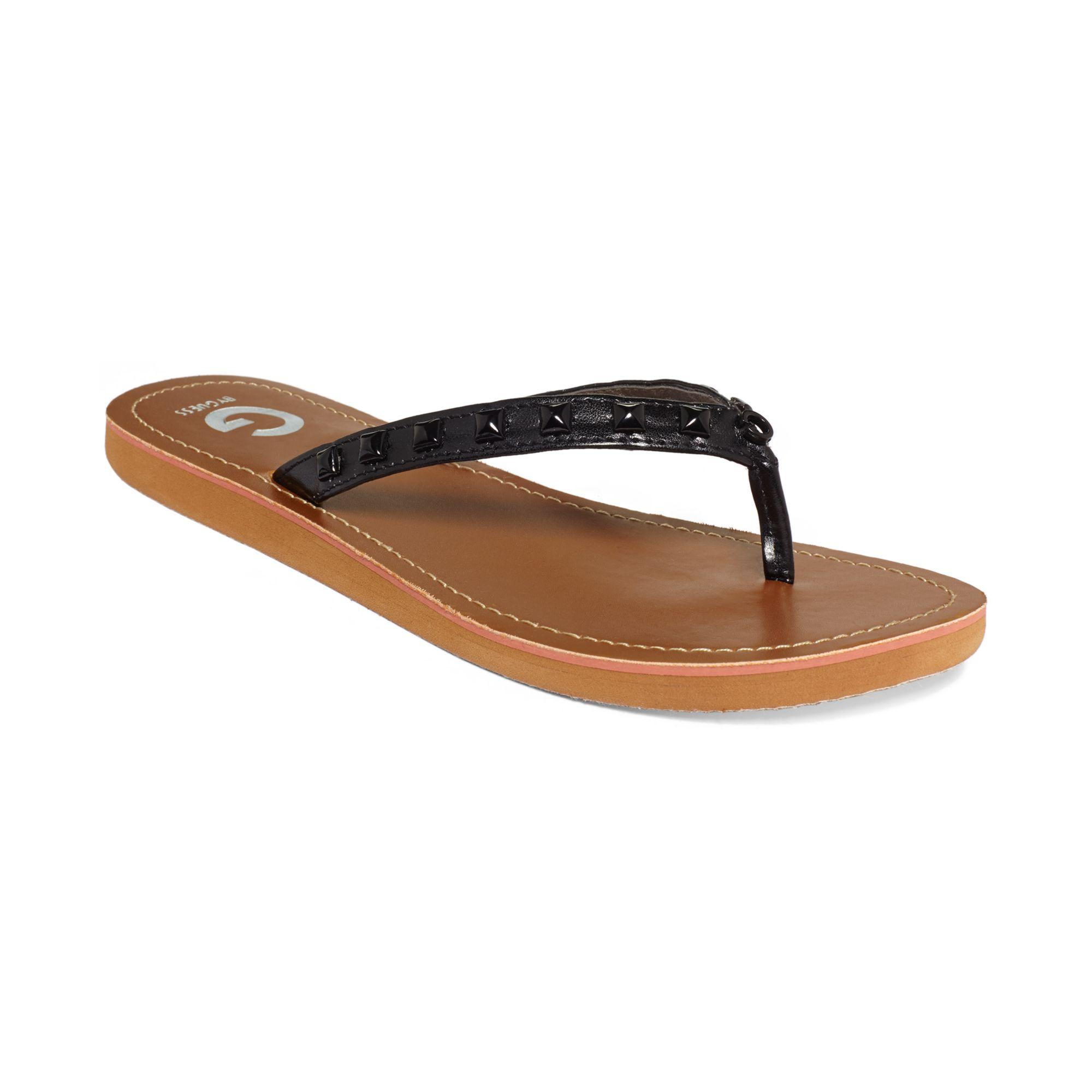 38e769356a619 Lyst - G by Guess Womens Kendrah Studded Flip Flops in Black