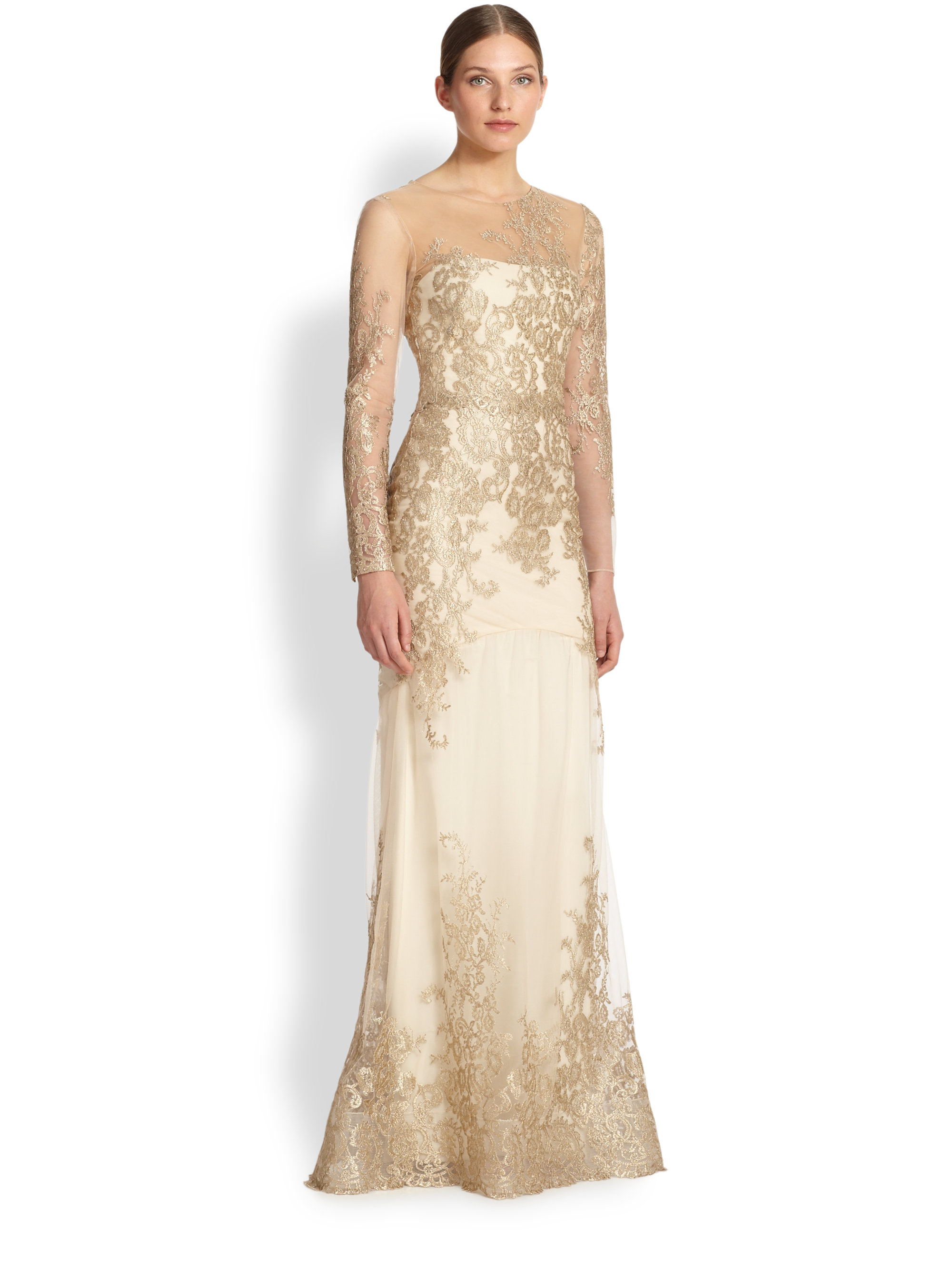 Lyst Notte By Marchesa Floral Amp Lace Mermaid Gown In White