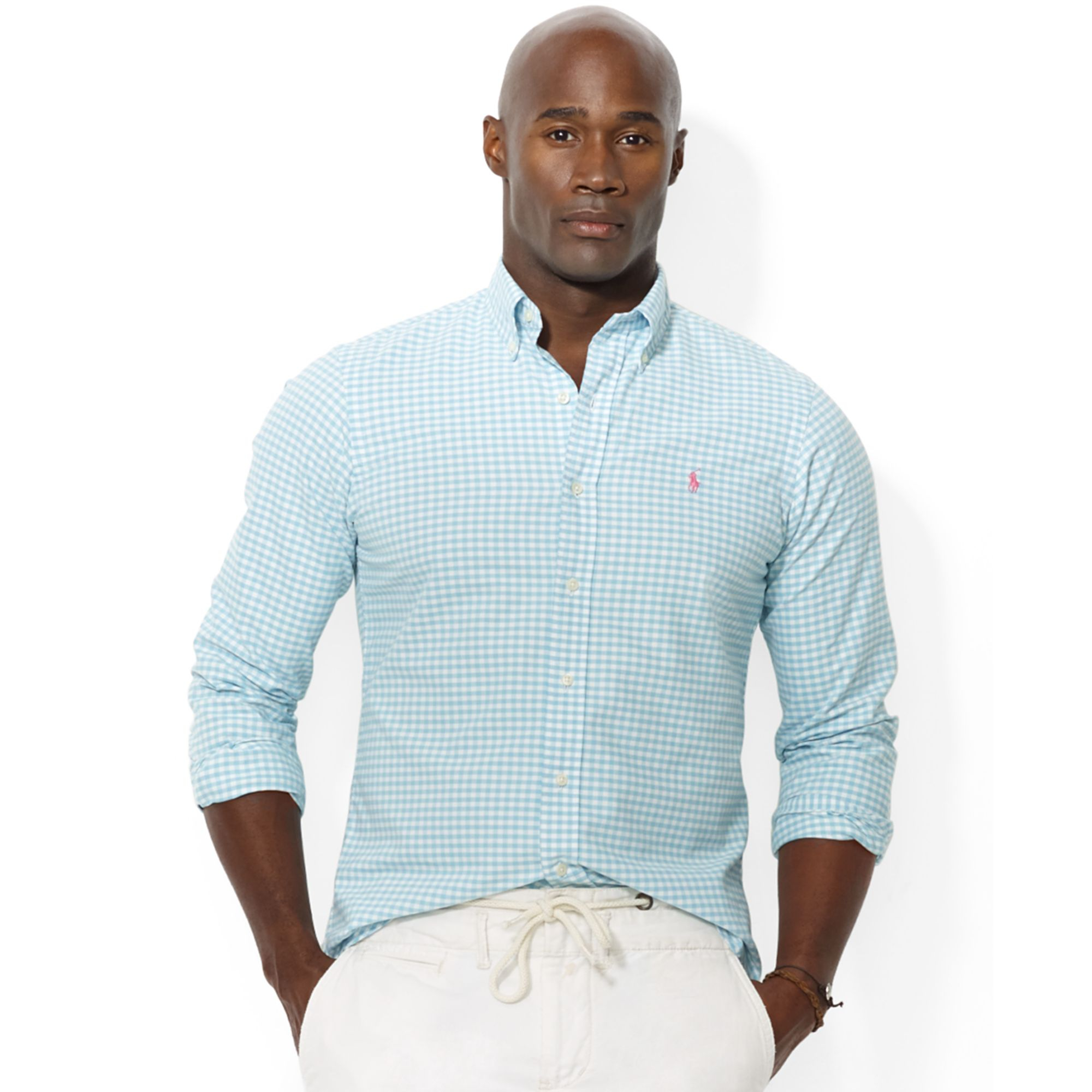 Polo ralph lauren polo big and tall gingham checked oxford for Big and tall oxford shirts