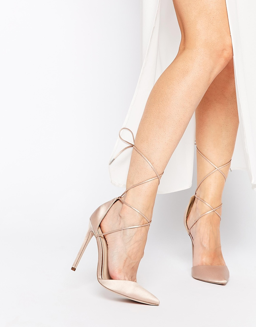 Asos Promises Lace Up Pointed High Heels in Natural | Lyst