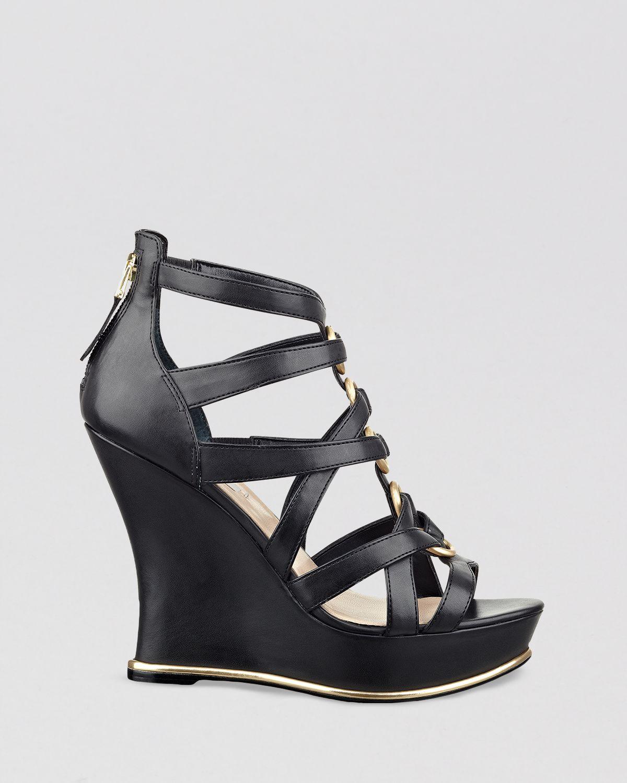 Lyst Guess Platform Wedge Sandals Barran In Black