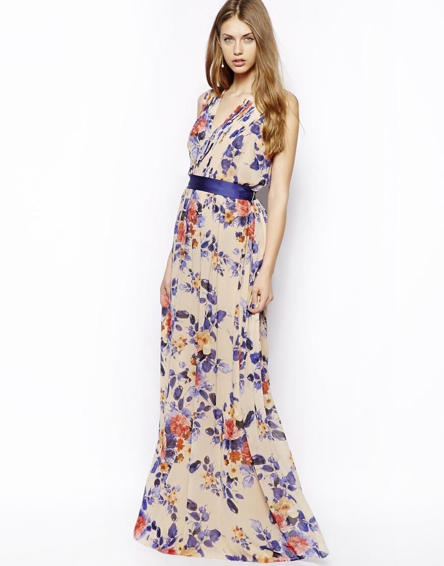 Mango Floral Print Maxi Dress in Purple