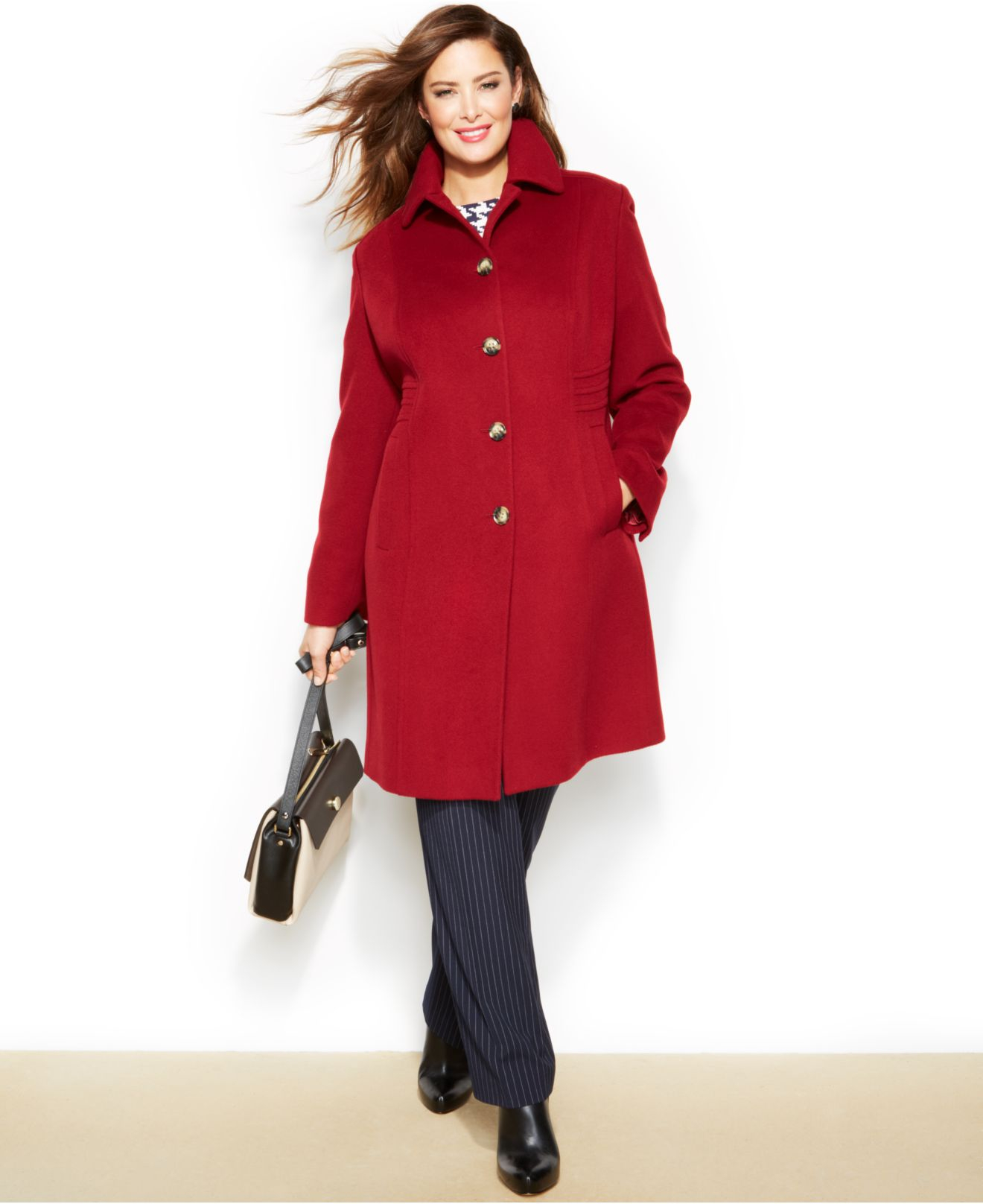 Anne klein Plus Size Wool-Cashmere-Blend Walker Coat in Red | Lyst