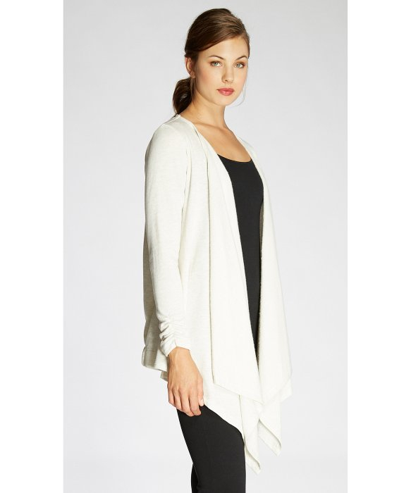 Bobeau Waterfall Fleece Cardigan in White | Lyst