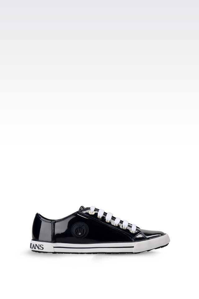 armani jeans leather low top sneakers in blue lyst. Black Bedroom Furniture Sets. Home Design Ideas