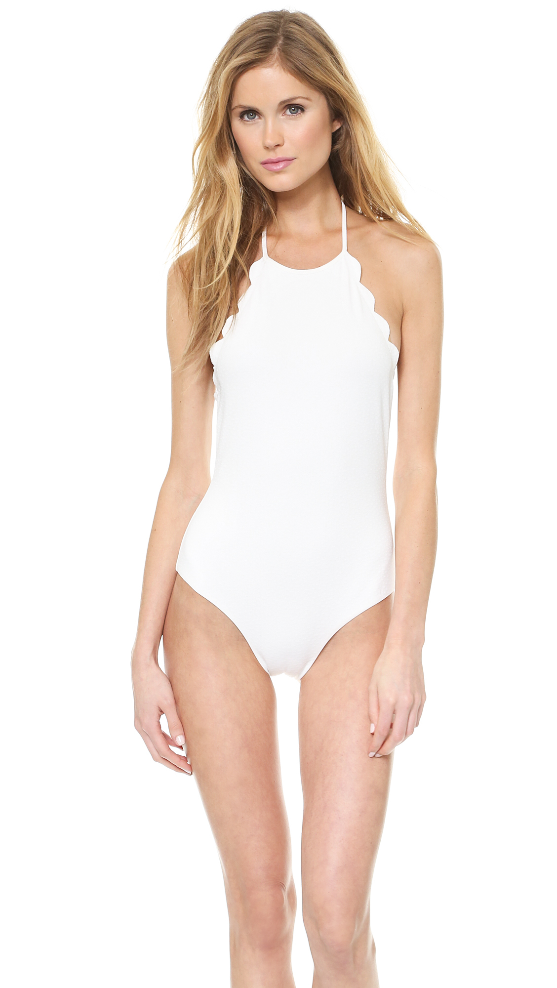 marysia swim halter low back scallop bathing suit morning dew in white lyst