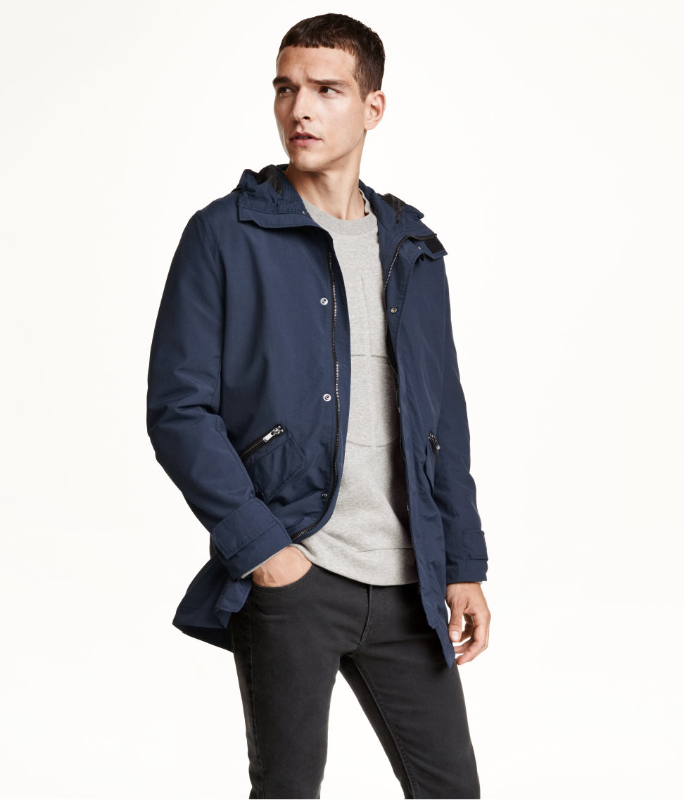 H&m Nylon Parka in Blue for Men | Lyst