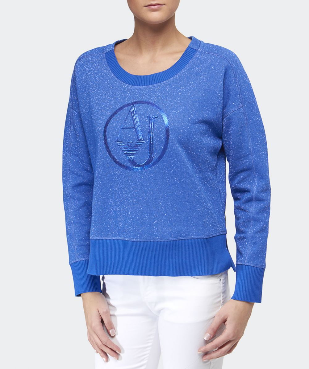 Armani jeans Glitter Logo Sweater in Blue | Lyst