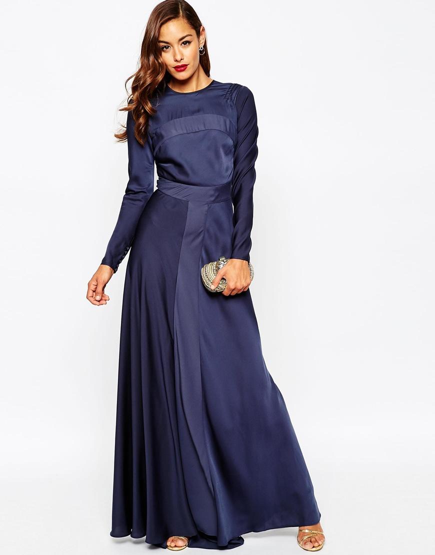 asos red carpet panelled long sleeve satin maxi dress in