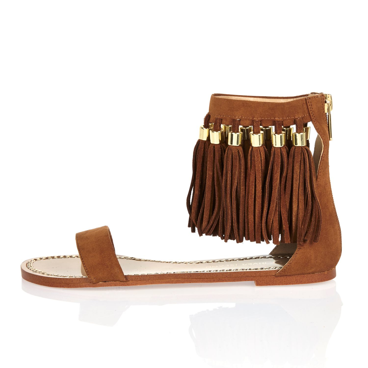 150c4e9a551d Lyst - River Island Tan Brown Tassel Sandals in Brown