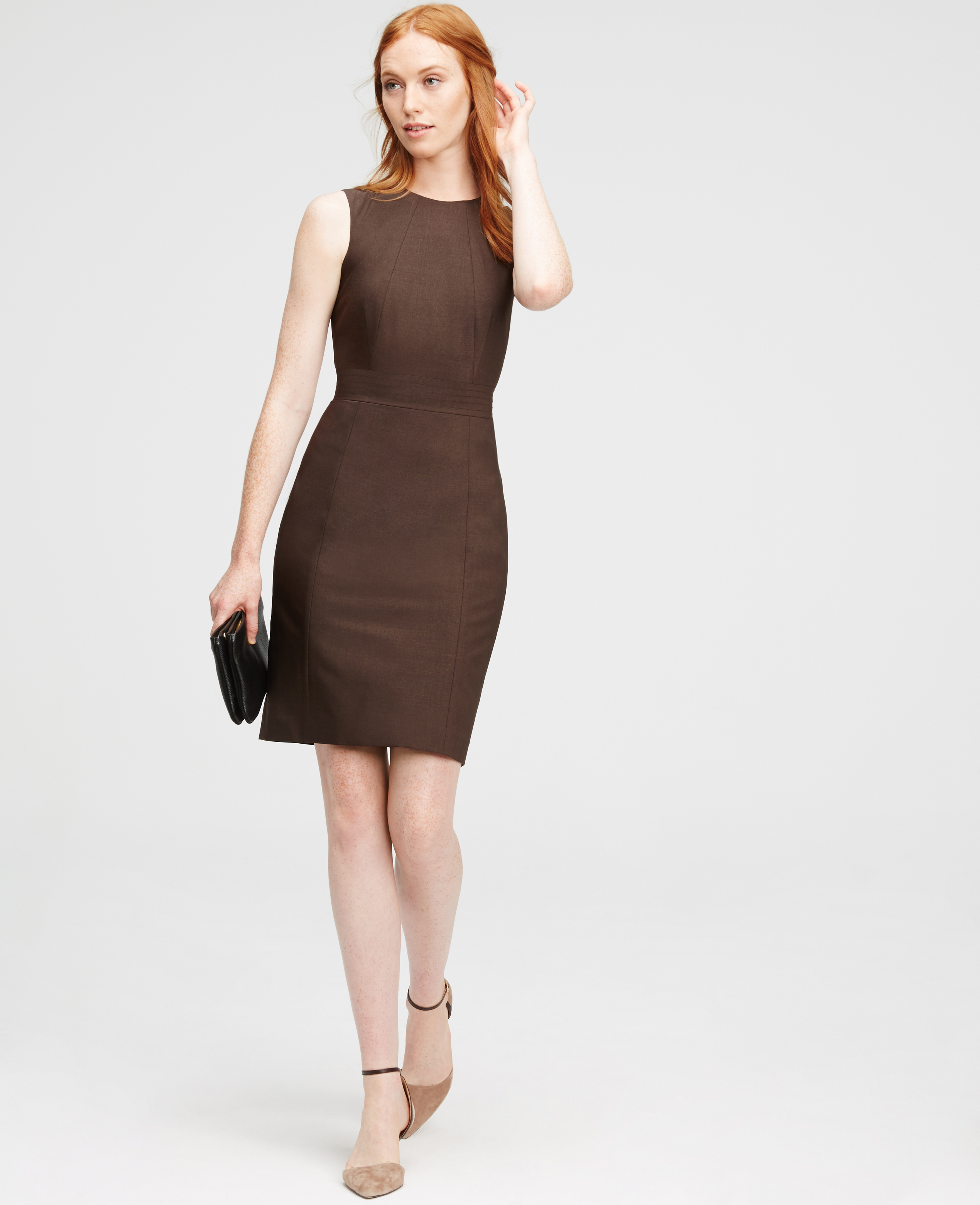 Ann taylor Tropical Wool Sheath Dress in Brown | Lyst