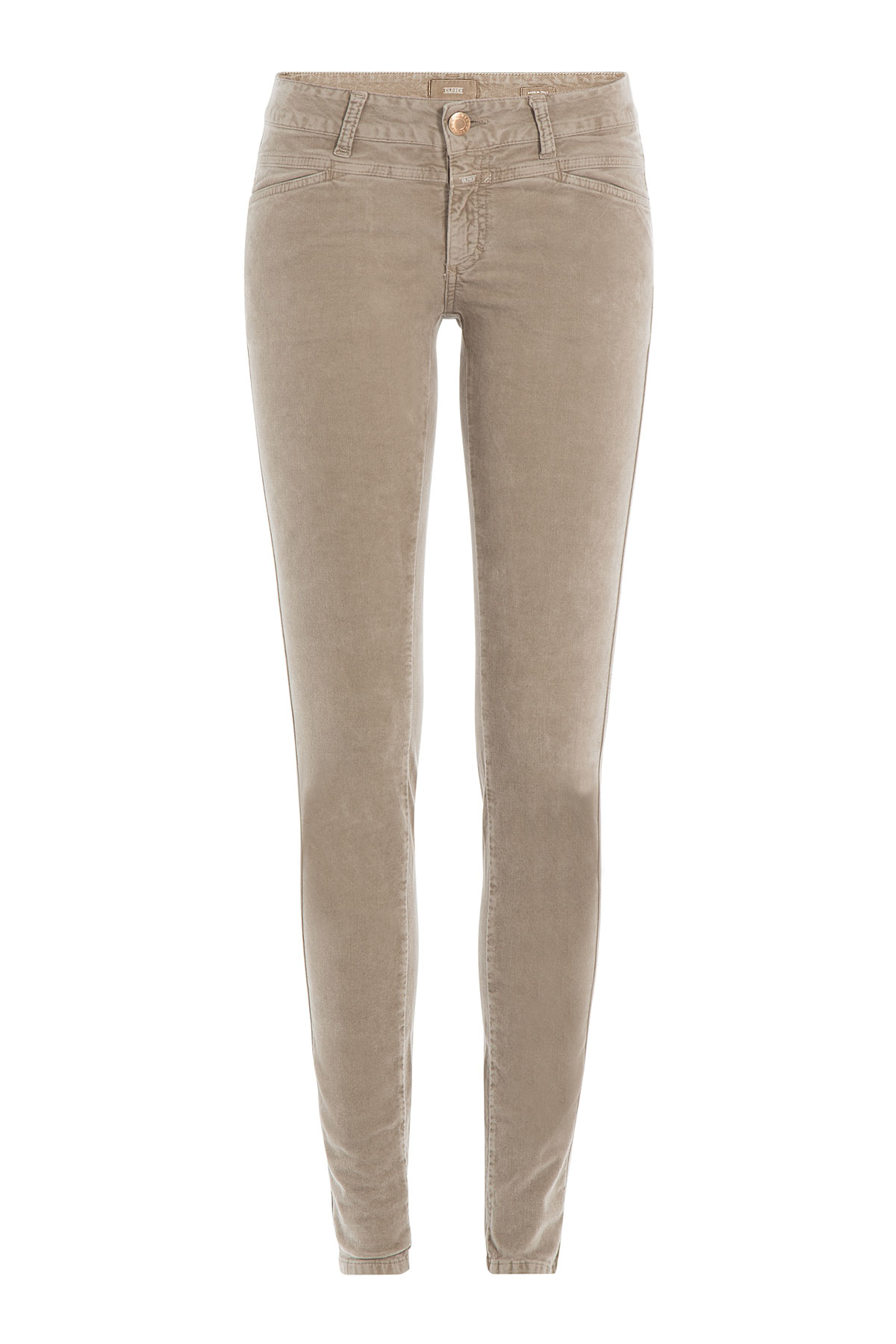 Closed Velvet Skinny Jeans - Beige in Natural | Lyst