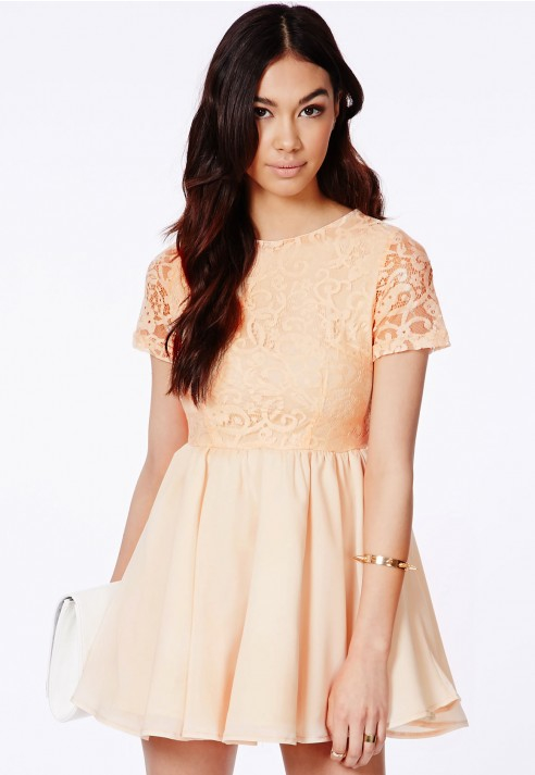 Lace puffball skater dress black