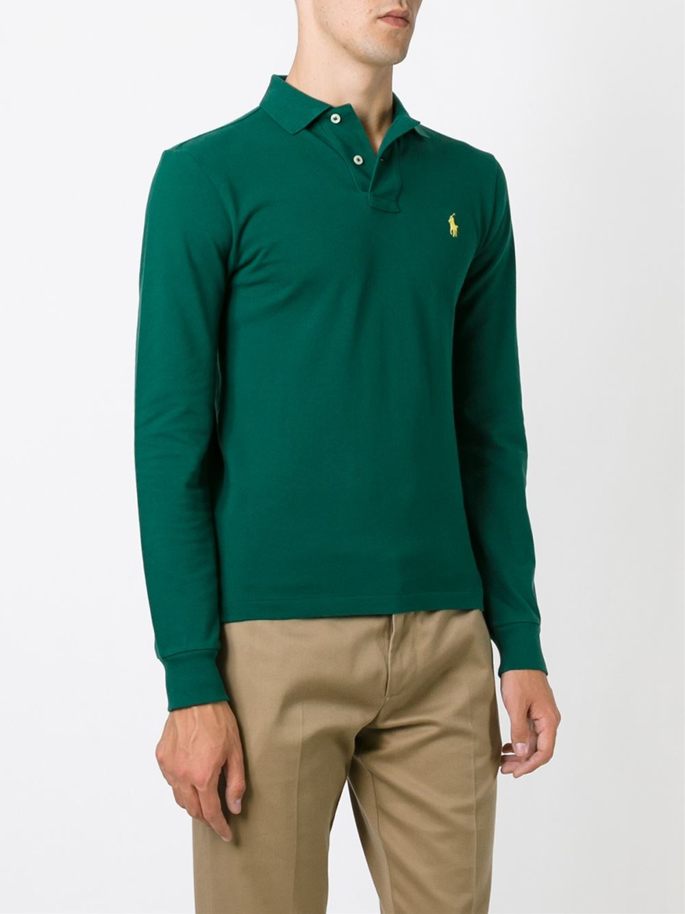 Polo Ralph Lauren Long Sleeved Polo Shirt In Green For Men