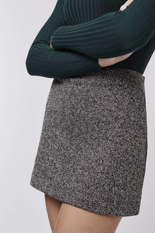 Topshop Petite Herringbone Jersey A-line Skirt in Gray | Lyst