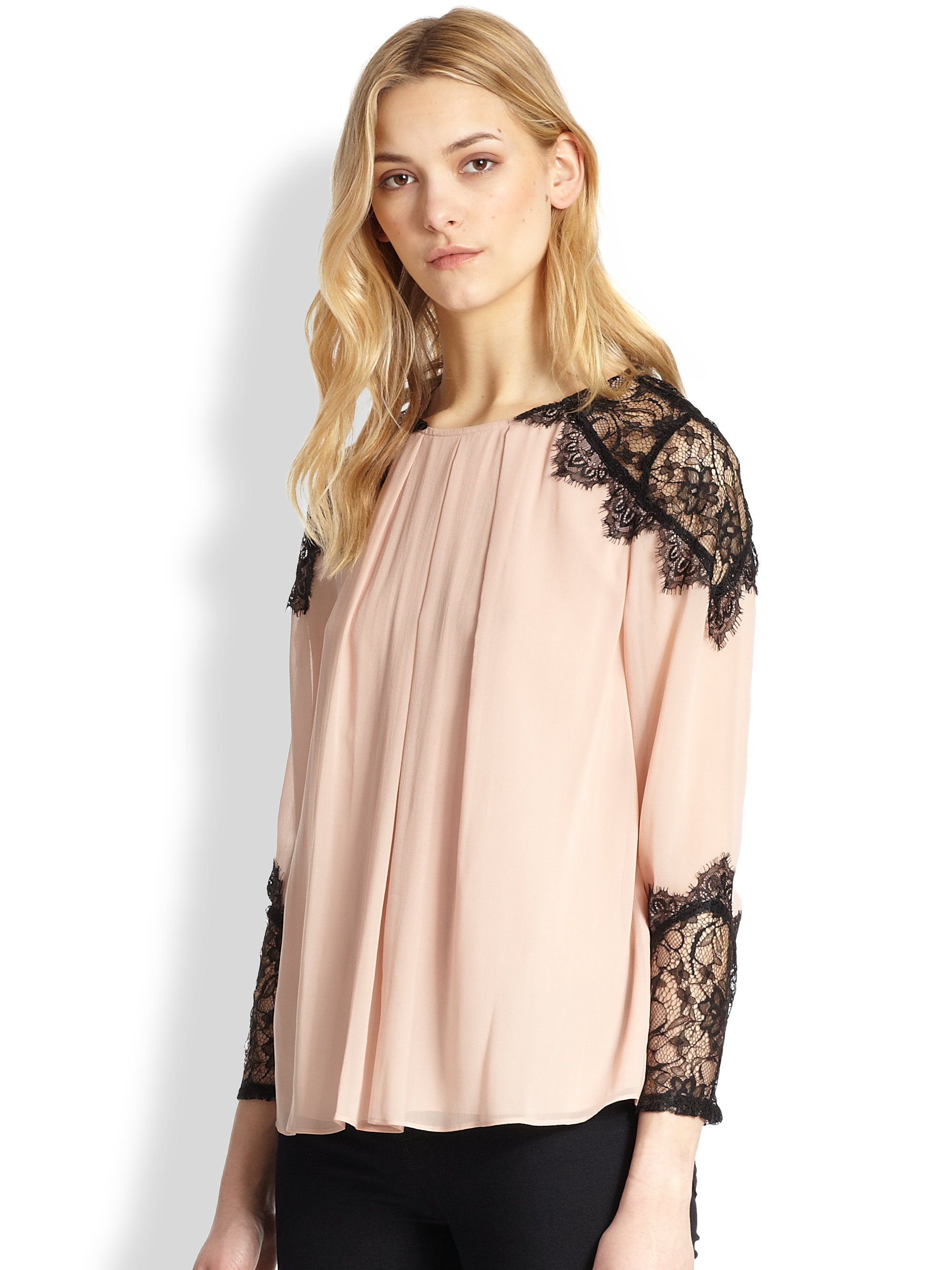 8d908933e6d6d Lyst - Alice + Olivia Danyelle Silk Lacepaneled Blouse in Pink