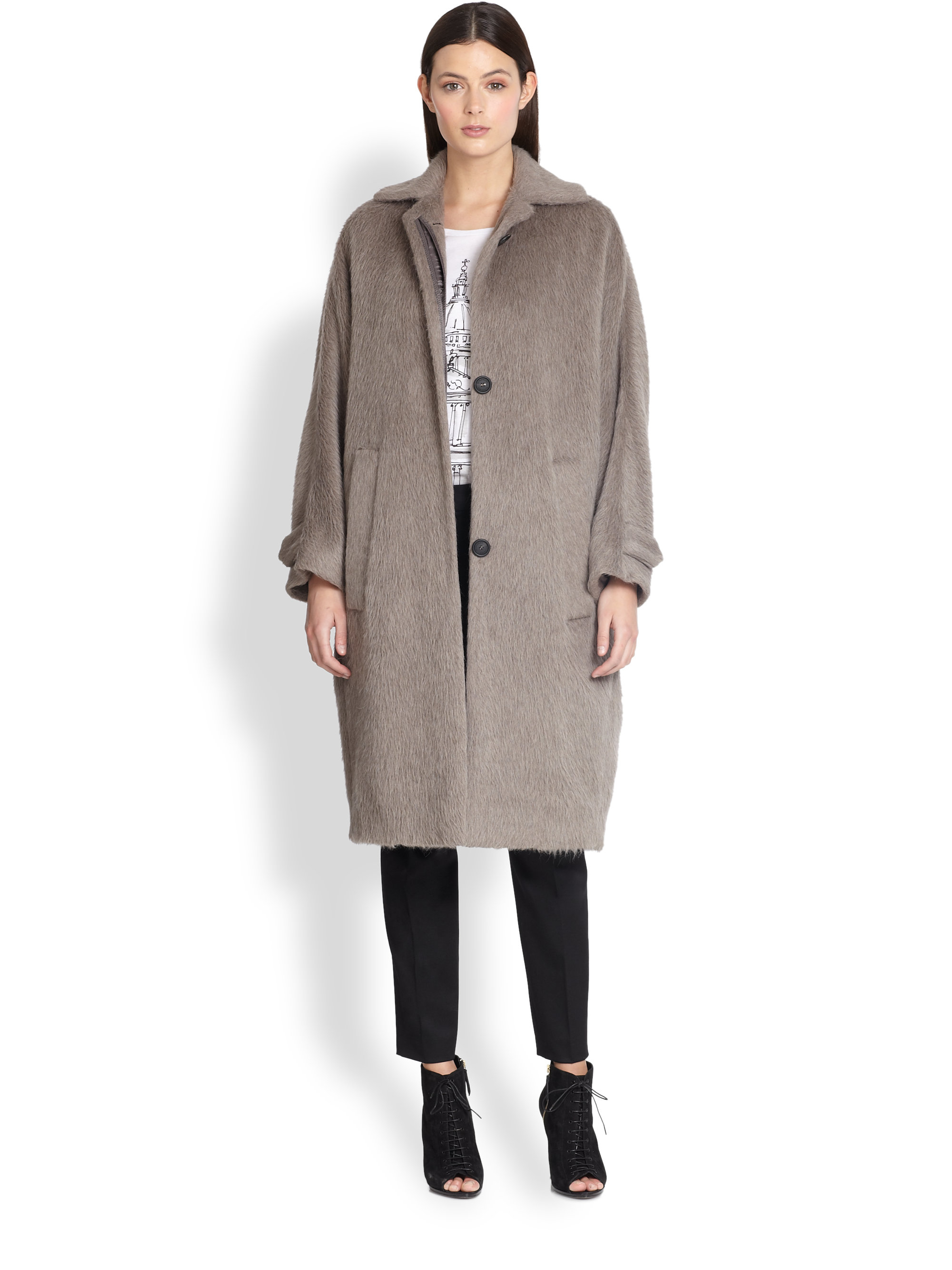 Burberry prorsum Slouchy Brushed Wool Coat in Gray | Lyst
