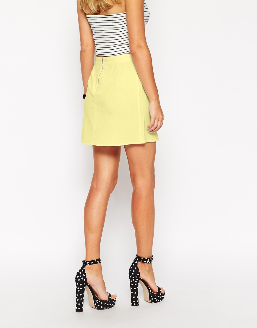 Asos A-line Linen Mini Skirt in Yellow | Lyst