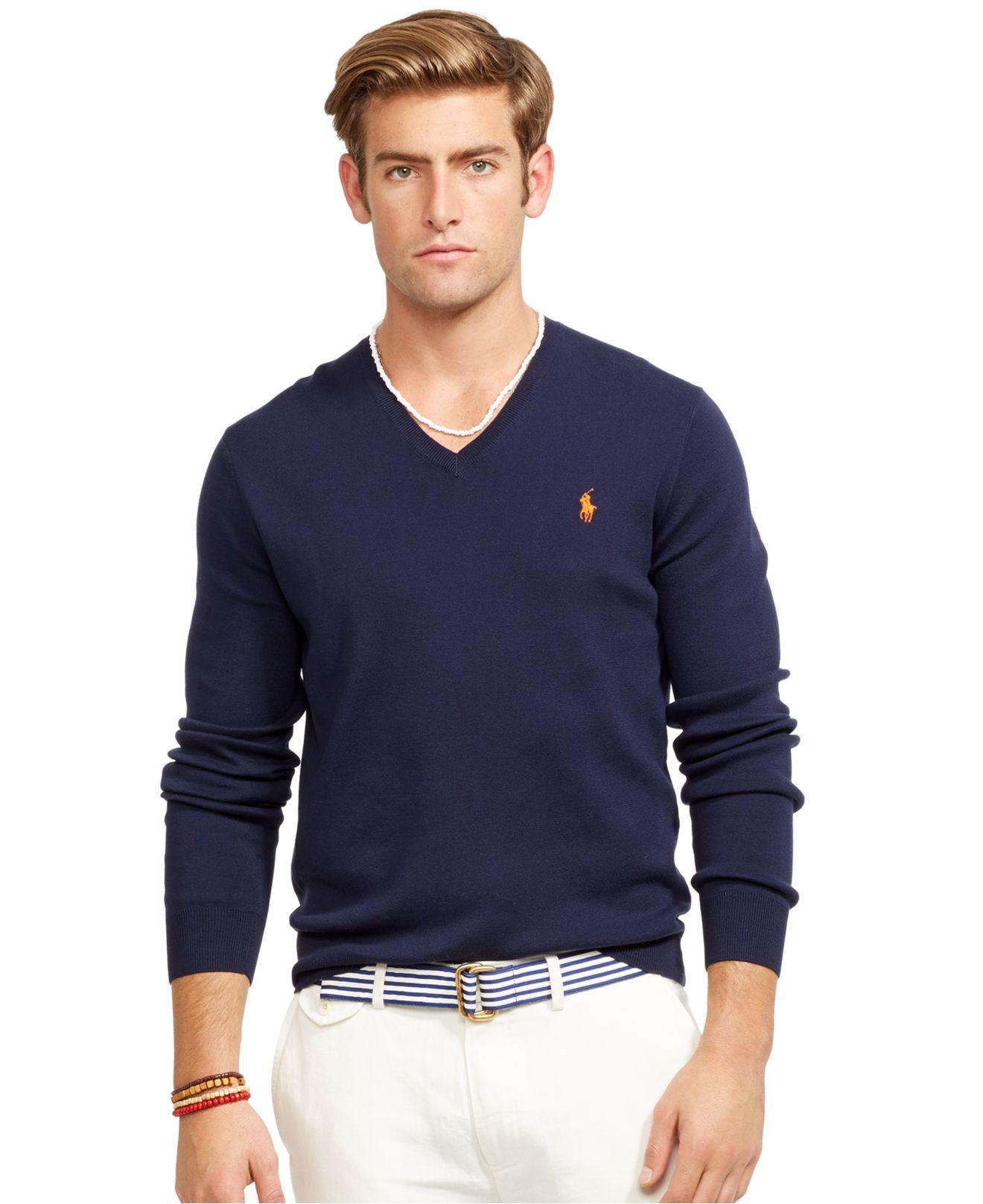 f1c3e069b6a0 Lyst - Polo Ralph Lauren V-neck Sweater in Blue for Men