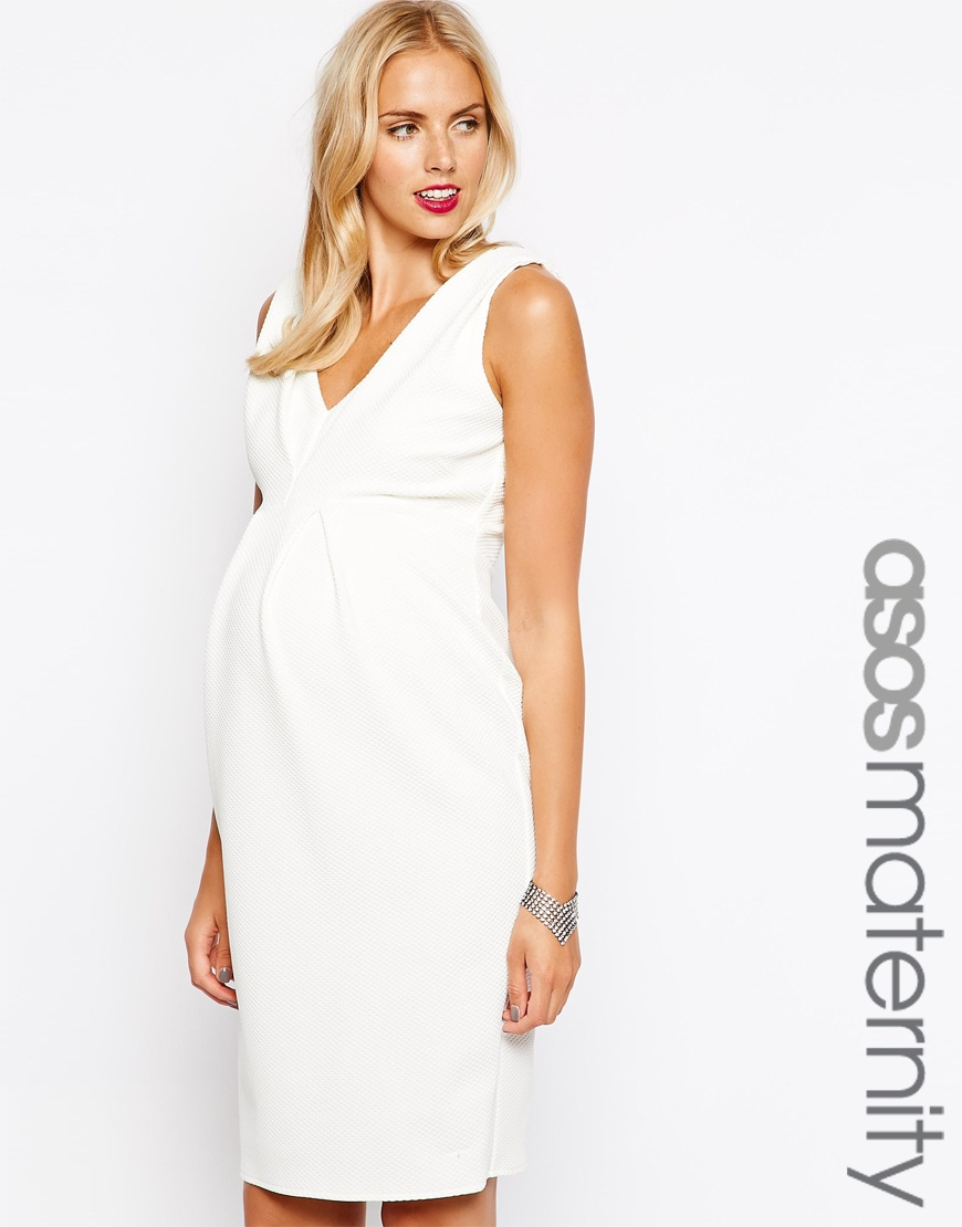 Asos pencil dress in texture with double v neck in white lyst be inspired ombrellifo Gallery